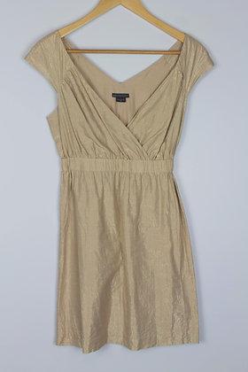 Armani Exchange Gold Cinched Waist Mini Dress
