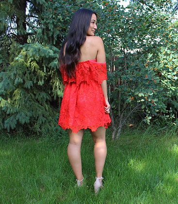 Off-the-shoulder Lacy Mini Dress