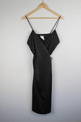 Vintage Black Sparkle Wrap Dress