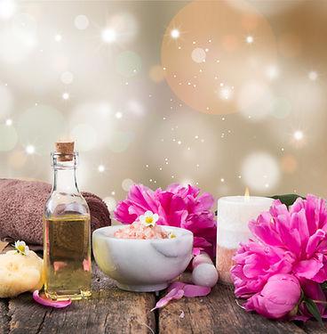 spa massage setting, lavender product, o