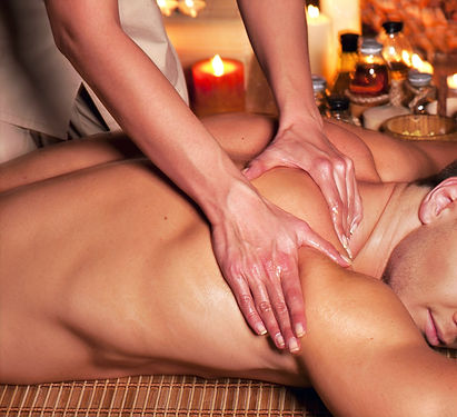 Man getting massage in spa. Female thera