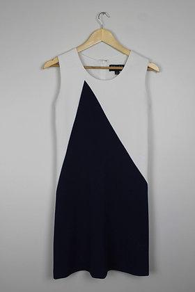 Navy and White Colourblock Shift Dress