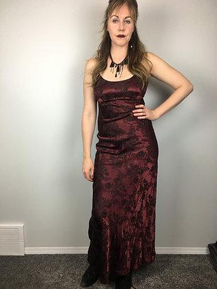 Burgundy Floral Tie-Back Gown