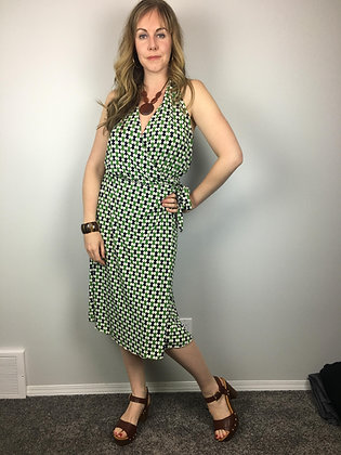 1970's Style Graphic Wrap Dress