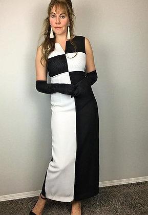 Black and White Colour-Block 60's Dress