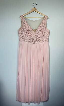 Pink Lace-bodice Bridesmaid Dress