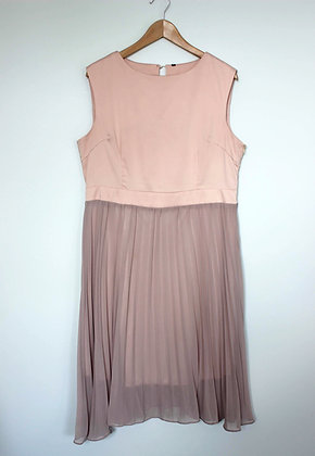 Pink Dress with Pleated Skirt