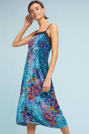 """Blue """"Lange"""" Velvet Slip Dress"""