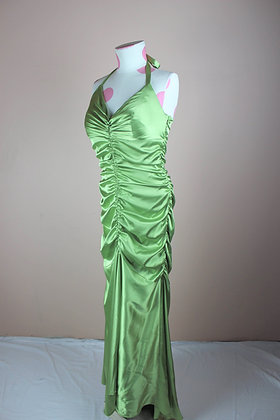 Ruched Satin Halter Gown