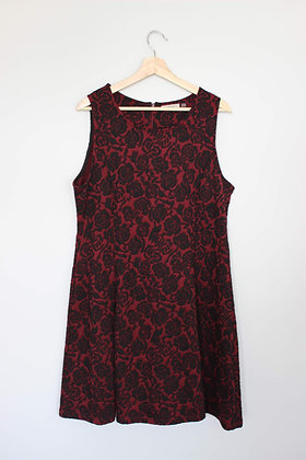 Red and Black Floral Fit-and-Flare Dress