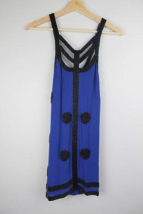 FCUK Blue Silk Minidress with Beaded Detail
