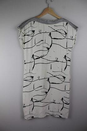 White and Black Dress with Braid Trim