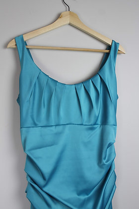 Teal Ruched Cocktail Dress