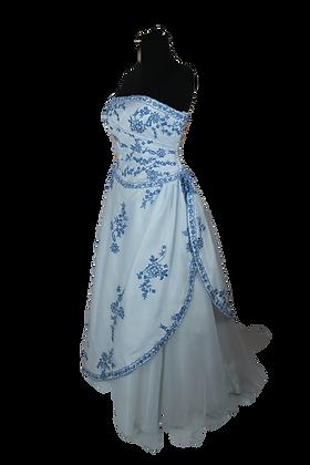 Blue and White Strapless Ballgown