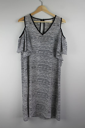Black and White Cold Shoulder Dress