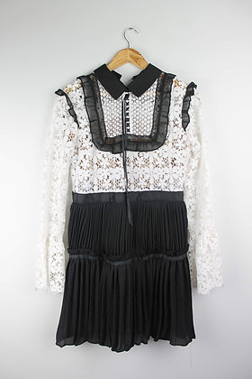 Black and White Lace Long-sleeve Dress