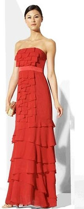 Red Tiered Ruffle Gown