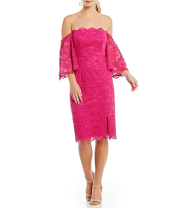 Nicole Miller Atelier Off-the-shoulder Pink Lace Cocktail Dress
