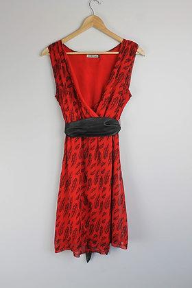Tie Waist Feather Print Cocktail Dress