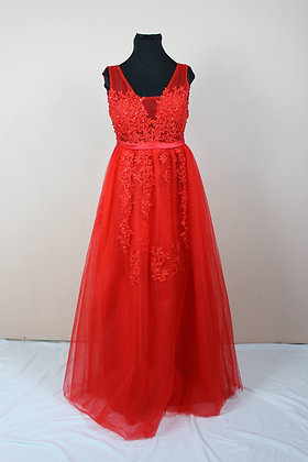 Red Tulle Embroidered Gown