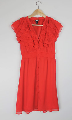 Red Ruffle Front Cocktail Dress