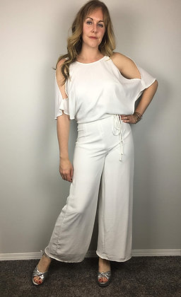 White Cold Shoulder Jumpsuit