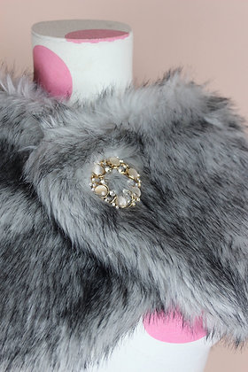 Faux Fur Stole with Brooch