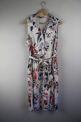 White Floral Sleeveless Shirt Dress