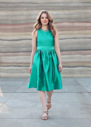 Satin Fit-and-Flare Dress