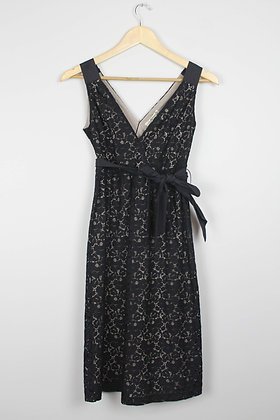 Little Black Lace Dress with Tie