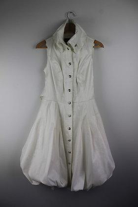 White Silk Taffeta Bubble Hem Dress