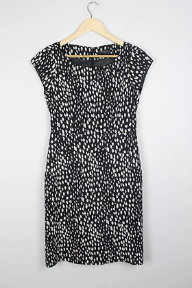 Black and White Capsleeve Cocktail Dress