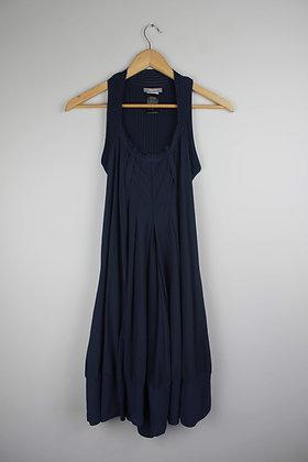 Navy Bubble Hem Dress with Knit Back