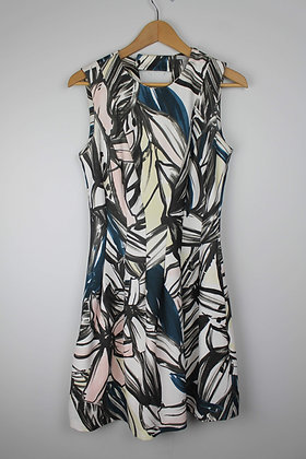 Abstract Fit and Flare Scuba Dress