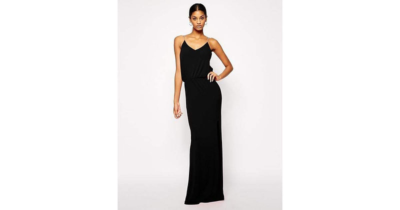 Black Gown with Chain Detail