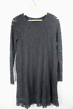 Lace Long Sleeved Dress with Fringe Hem