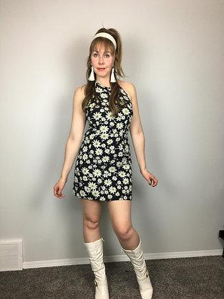 90's Vintage Daisy Halter Dress
