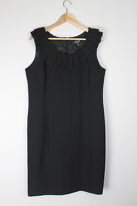 Black Cocktail Dress with Ruffle Neck