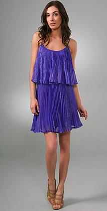 Halston Heritage Tiered Pleated Chiffon Dress