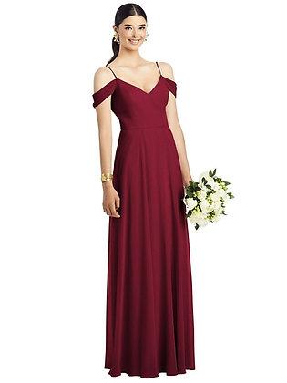 Burgundy Cold-Shoulder Gown