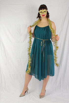 Teal Dress with Gold Tie