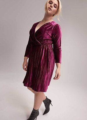 Velvet Striped Faux-wrap Dress