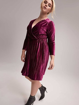 Velvet Striped Faux-wrap Dress