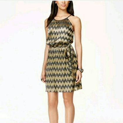 Guess Black and Gold Belted Dress