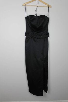 Strapless Black Gown with Beading