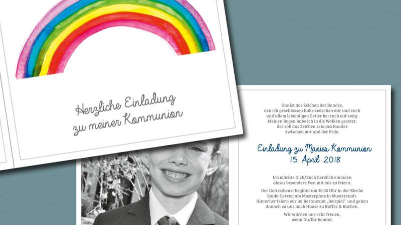 """Kommunion Einladung """"Farben Gottes"""", Klappkarte quadratisch"""