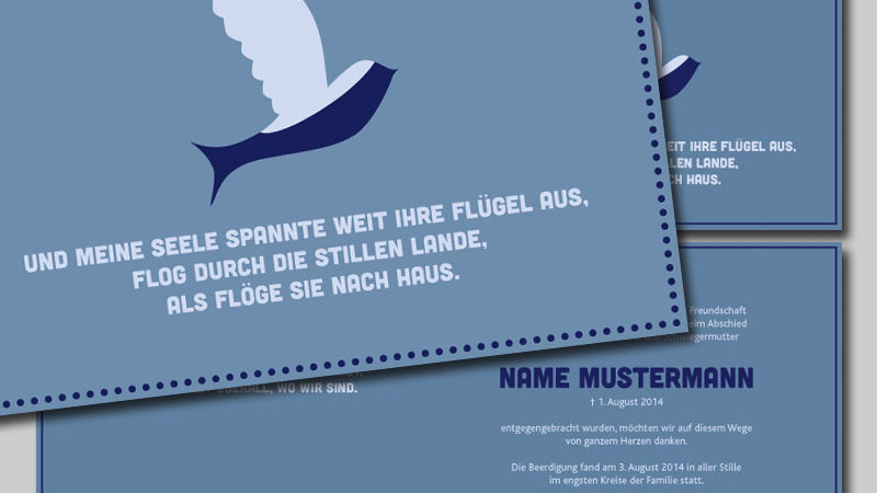 "Trauerkarte, Todesanzeige ""Seele"", Klappkarte A4 quer"
