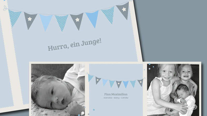 "Geburtskarte ""Wimpel"", 6-seitig, quadratisch"