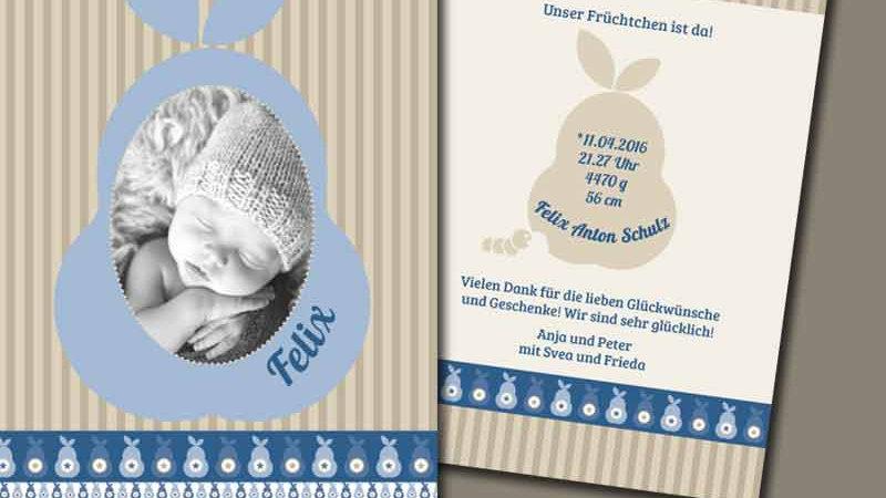"""Geburtskarte """"Früchtchen"""", Klappkarte A4 hoch"""