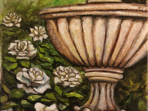 Fountain with White Roses